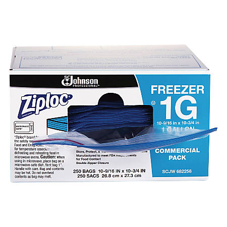 Ziploc® Freezer And Storage Bags, 1 Gallon, Box Of 250