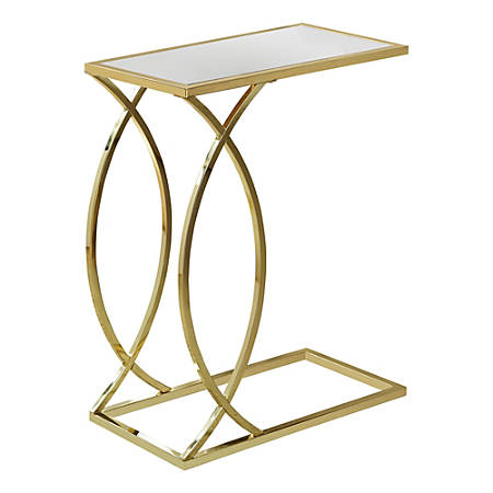 Monarch Specialties Mirror-Top Side Accent Table, Rectangular, Mirror/Gold