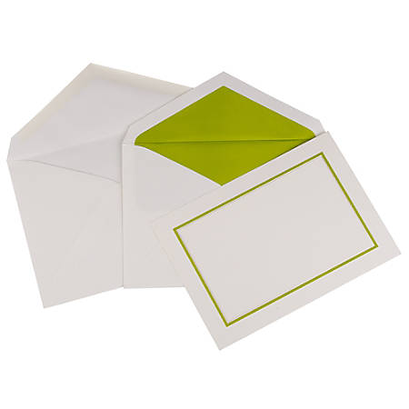 JAM Paper® Large Stationery Set, Set Of 50 White/Lime Green Cards, 50 White Outer Envelopes and 50 White/Lime Green Inner Envelopes