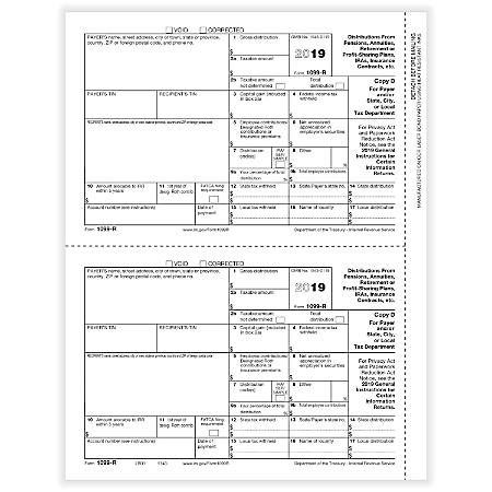 "ComplyRight™ 1099-R Tax Forms, Laser Cut, Copy D, 8-1/2"" x 11"", Pack Of 50 Forms"