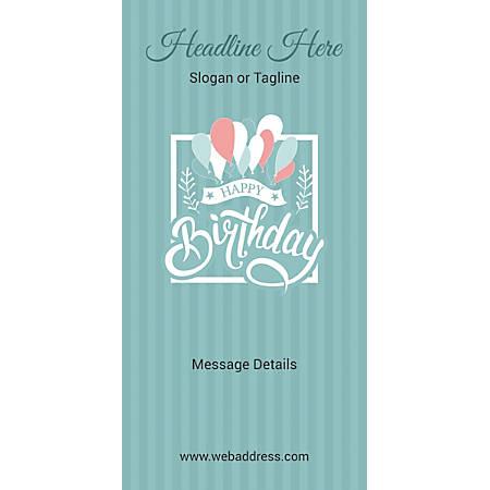 Custom Vertical Banner, Birthday Balloons