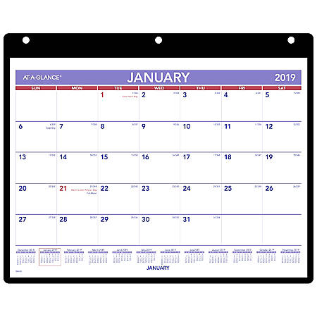 """AT-A-GLANCE® Monthly Desk/Wall Calendar With Cover And Holder, 8 1/4"""" x 11"""", January to December 2019"""