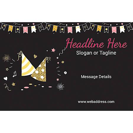 Custom Poster, Birthday Caps and Bunting, Horizontal