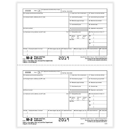 """ComplyRight™ W-2 Tax Forms, Inkjet/Laser, Employer Copy D, 2-Up, 8-1/2"""" x 11"""", Pack Of 2,000 Forms"""