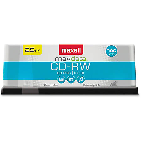 Maxell® CD-RW Rewritable Media Spindle, 700MB/80 Minutes, 1x-4x, Pack Of 25
