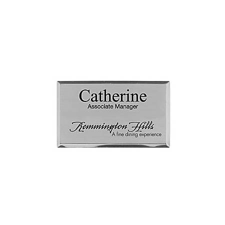 "Custom Engraved Metal Name Badge, 1-7/8"" x 3-1/4"", Silver"