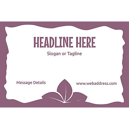 Adhesive Sign, Purple Leaves, Horizontal