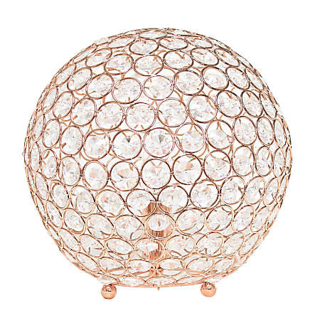 "Elegant Designs Crystal Ball Table Lamp, 10""H, Rose Gold"