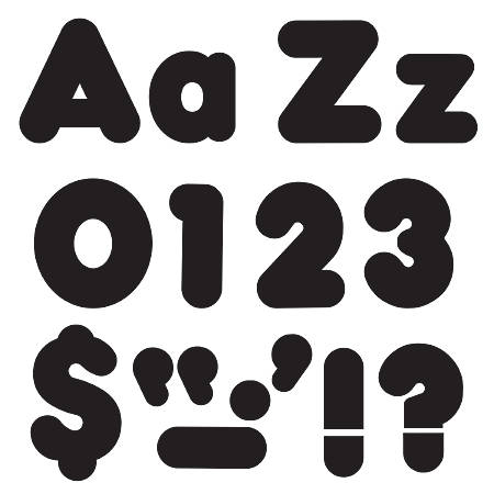 """Trend Black 4"""" Casual Combo Ready Letters Set - 20, 82, 50, 29 (Number, Lowercase Letters, Uppercase Letters, Punctuation Marks) Shape - Fade Resistant, Reusable, Easy to Use, Durable - Black - 1 / Pack"""