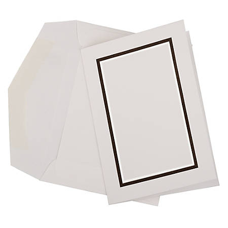 JAM Paper® Small Stationery Set, Black/White, Set Of 100 Cards And 100 Envelopes