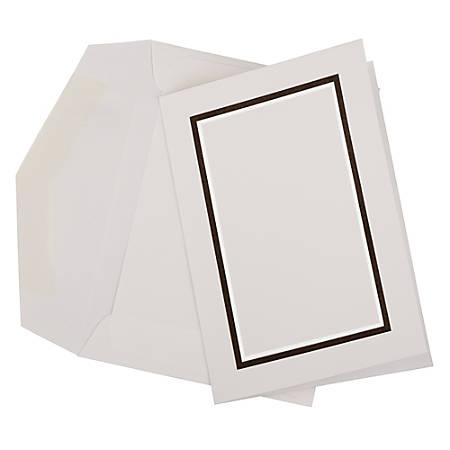 JAM Paper® Small Stationery Set, Black/White, Set Of 100 Cards And 100 Envelopes
