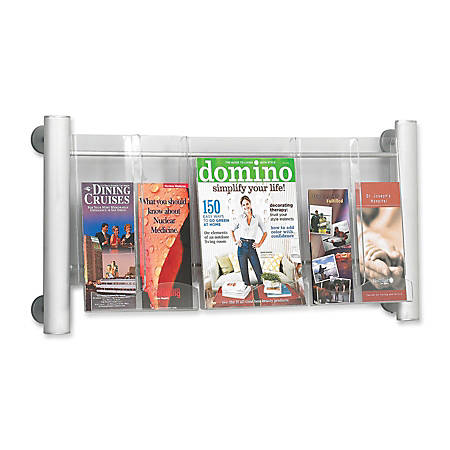 """Safco® Elegant Luxe 3-Pocket Magazine Rack, 31 3/4"""" x 5"""" x 15 1/4"""", Clear/Silver"""
