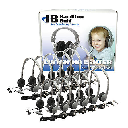HamiltonBuhl™ MS2LV Personal On Ear Headphones Lab Pack, Silver/Black, Pack Of 12