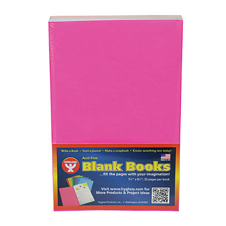 """Hygloss Mighty Brights™ Paperback Blank Books, 5"""" x 8"""", 32 Pages (16 Sheets), Assorted Colors, Pack Of 10, Case of 2"""