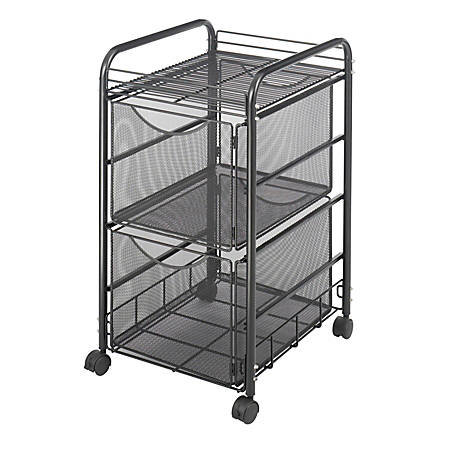 "Safco® Onyx™ Mesh File Cart With 2 File Drawers, 27 1/2""H x 15 1/4""W x 17 1/2""D, Black"