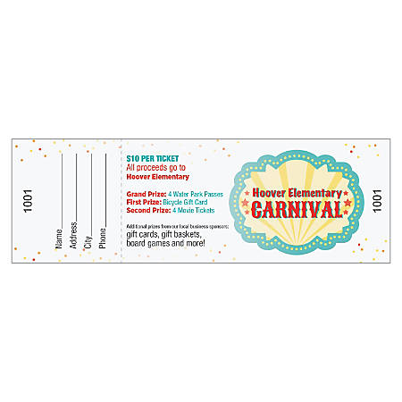 full color event tickets pack of 50 by office depot officemax