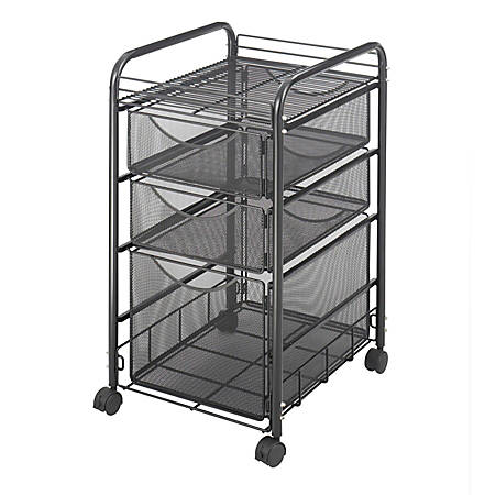 """Safco® Onyx™ Mesh File Cart With 1 File Drawer And 2 Small Drawers, 27 1/2""""H x 15 1/4""""W x 17 1/2""""D, Black"""