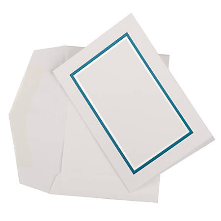 JAM Paper® Small Stationery Set, Blue/White, Set Of 100 Cards And 100 Envelopes