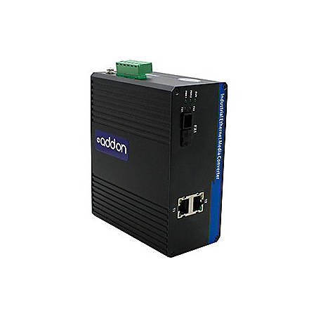 AddOn 2 10/100Base-TX(RJ-45) to 1 100Base-BXD(FC) SMF 1550nmTX/1310nmRX 20km Industrial Media Converter Switch
