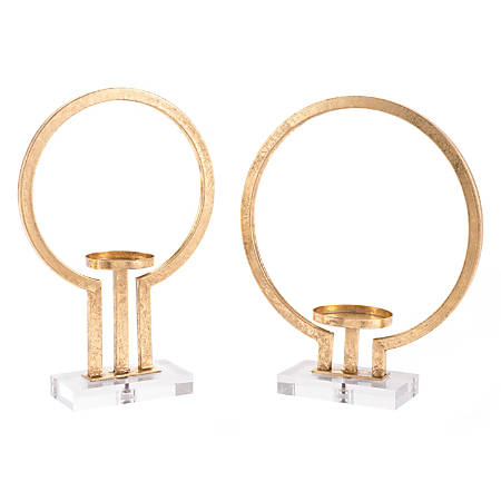 Zuo Modern Oly Candle Holders, Gold, Set Of 2 Candle Holders