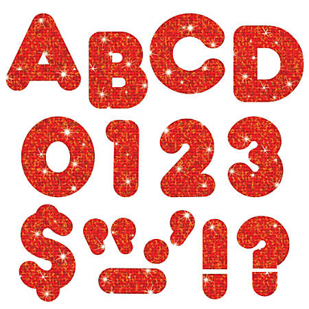 """TREND Ready Letters®, Casual, 3"""", Red Sparkle, Pre-K - Grade 12, Pack Of 124"""