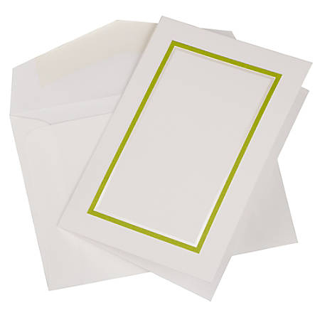 JAM Paper® Small Stationery Set, Lime Green/White, Set Of 100 Cards And 100 Envelopes