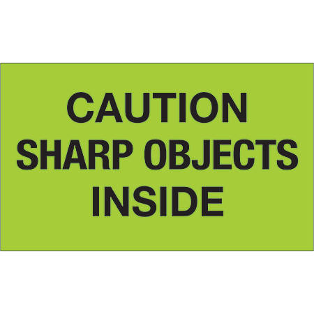 """Tape Logic® Preprinted Special Handling Labels, DL1126, Caution Sharp Objects Inside, Rectangle, 3"""" x 5"""", Fluorescent Green, Roll Of 500"""