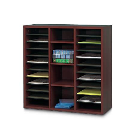 "Safco® Apres 3-Pocket Literature Organizer, 30"" x 30"" x 10"", Mahogany"