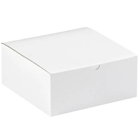 "Office Depot® Brand Gift Boxes, 8""L x 8""W x 3 1/2""H, 100% Recycled, White, Case Of 100"