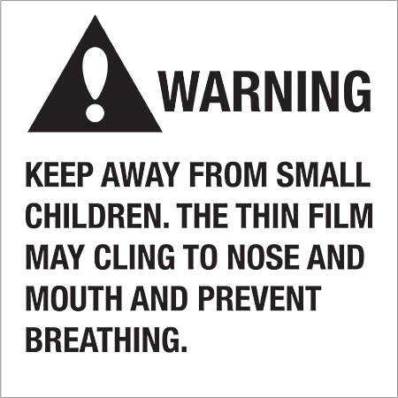 """Tape Logic® Preprinted Shipping Labels, DL1301, Warning Keep Away From Small Children, Square, 2"""" x 2"""", Black/White, Roll Of 500"""