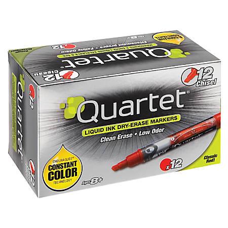 Quartet® EnduraGlide® Dry-Erase Markers, Chisel, Red, Pack Of 12