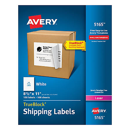 Avery Permanent Full Sheet Labels 5165 Laser 8 12 X 11 White Box Of