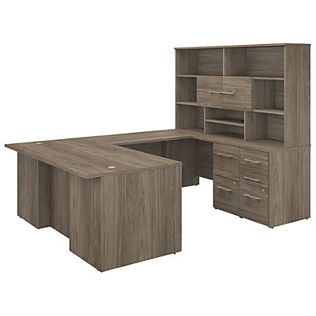 "Bush Business Furniture Office 500 72""W U-Shaped Executive Desk With Drawers And Hutch, Modern Hickory, Standard Delivery"