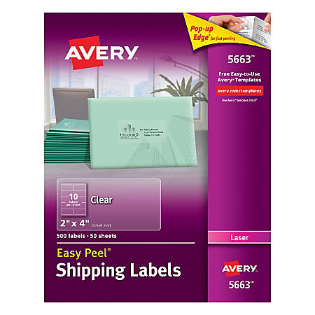 Avery Easy Peel Permanent Laser Address Labels 5663 2 X 4 Clear Pack