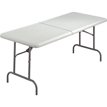 Skilcraft Blow Mold Bi Folding Table Rectangle Top 72 Table Top Width X 30 Table Top Depth Assembly Required Platinum High Density