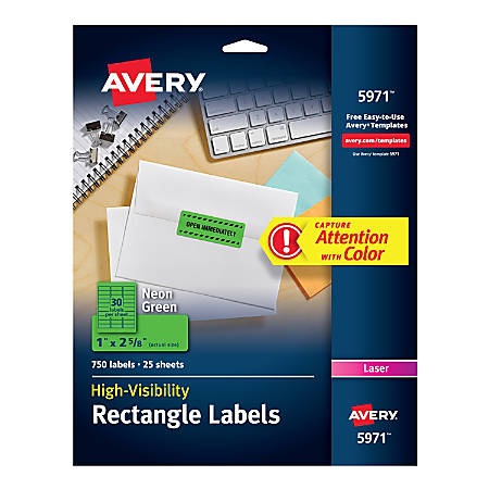 """Avery® High-Visibility Permanent Laser ID Labels, 5971, 1"""" x 2 5/8"""", Neon Green, Pack Of 750"""