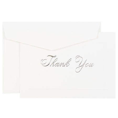 "JAM Paper® Thank You Card Set, 4 7/8"" x 3 3/8"", 80 Lb, Bright White/Silver Script, Set Of 104 Cards And 100 Envelopes"