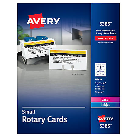 "Avery® Laser Rotary Cards, 2 1/6"" x 4"", Box Of 400"