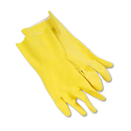 Boardwalk® Flock-Lined Latex Cleaning Gloves, Large, Yellow, Pack Of 12 Pairs