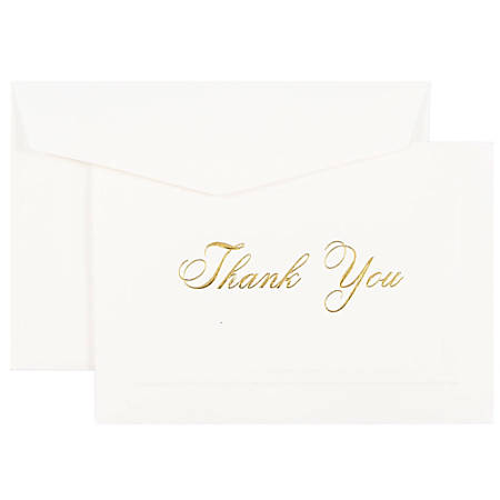 """JAM Paper® Thank You Card Set, 4 7/8"""" x 3 3/8"""", 80 Lb, Bright White/Gold Script, Set Of 104 Cards And 100 Envelopes"""