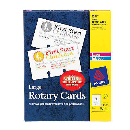 """Avery® Laser Rotary Cards, 3"""" x 5"""", Box Of 150"""