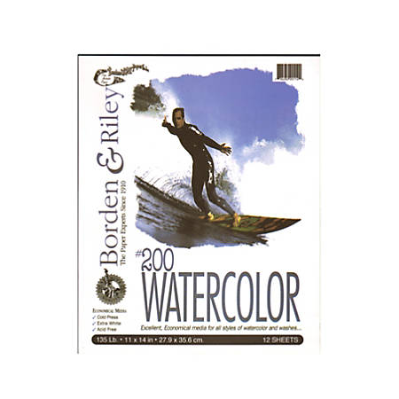 """Borden & Riley #200 Studio Watercolor Pads, 11"""" x 14"""", White, 12 Sheets Per Pad, Pack Of 2 Pads"""