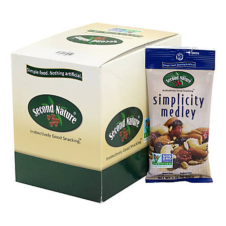 Second Nature Simplicity Medley Mixed Nuts, 2.25 Oz, Pack Of 12 Bags