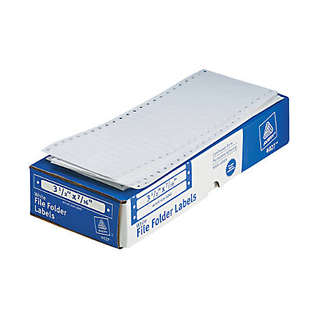 """Avery® High-Speed Continuous Form Permanent Address Labels, 4027, 3 1/2"""" x 7/16"""", White, Box Of 5,000"""