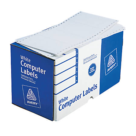 """Avery® High-Speed Continuous Form Permanent Address Labels, 4076, 5"""" x 2 15/16"""", White, Box Of 3,000"""