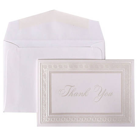 """JAM Paper® Thank You Card Set, 4 7/8"""" x 3 3/8"""", 20 Lb, Bright White/Pearl Border, Set Of 104 Cards And 100 Envelopes"""