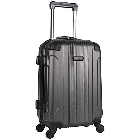 "Kenneth Cole ABS Hardside Upright Rolling Carry On, 20"" x 12 5/8"" x 8 1/2"", Charcoal/Red"