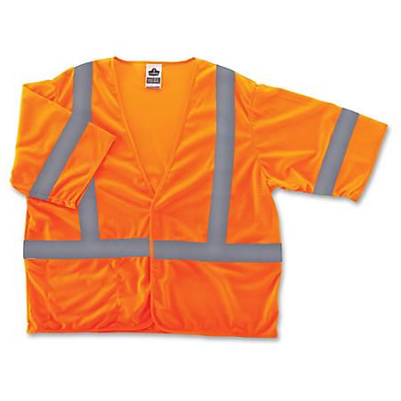 GloWear Class 3 Orange Economy Vest - Reflective, Machine Washable, Lightweight, Pocket, Hook & Loop Closure - Small/Medium Size - Polyester Mesh - Orange - 1 / Each