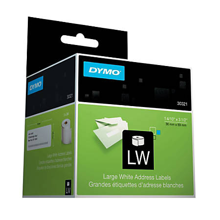 "DYMO® White Thermal Address Labels, DYM30321, 1 4/10"" x 3 1/2"", Box Of 520"