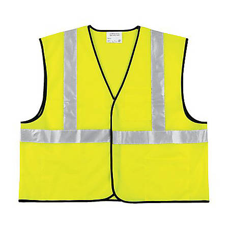 Class 2 Safety Vest, Fluorescent Lime w/Silver Stripe, Polyester, XL